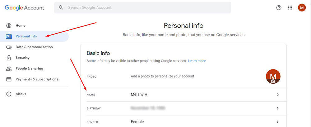 personal info google account basic info name