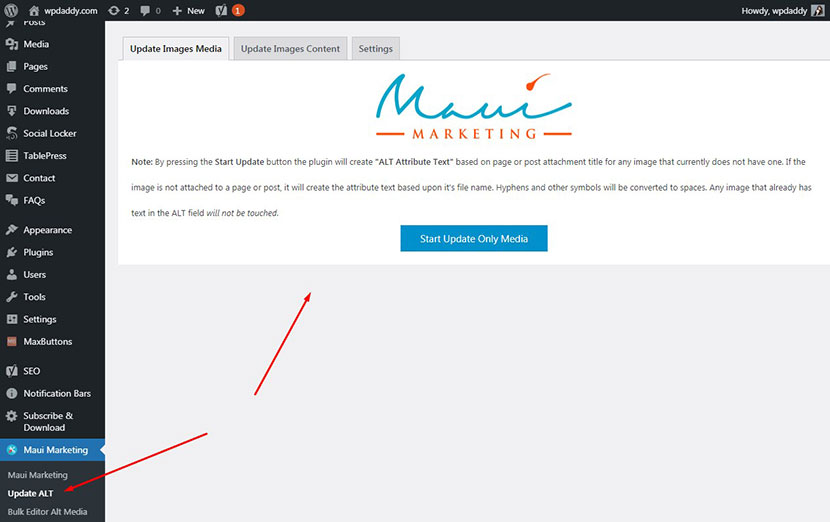maui marketing installed wordpress