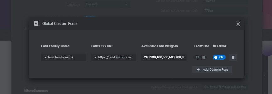 global custom fonts tab revslider