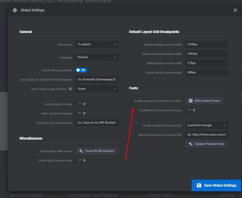 global settings fonts revslider