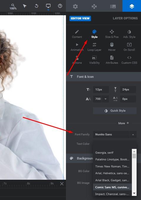 style font family drop down menu revslider